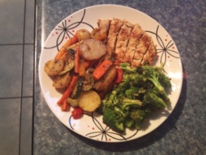 Meatless Chicken Breast with Roasted Potatoes and Broccoli