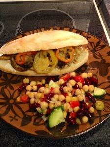 Mandarin Orange Chick'n Sandwich with mixed bean salad