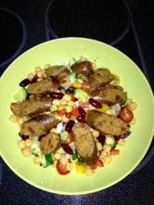 Mixed Bean Salad with Tofurkey Italian Sausage