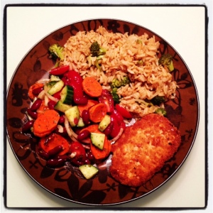 PC meatless Scallopine with Seasoned Rice and Mixed bean and Vegetable Salad (8)