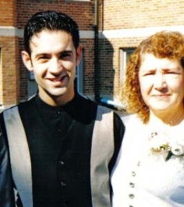 Mother and I and at my one of my sister's (Paula) wedding.